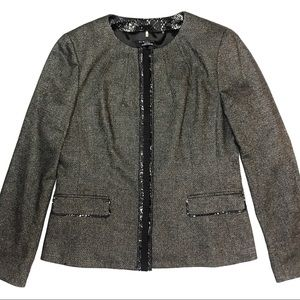 Elie Tahari Nordstrom Brown Tweed Jacket 14 Snap